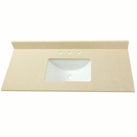 Cahaba 49 in. x 22 in. Crema Limestone Engineered Marble Vanity Top with trough bowl and 8 in. faucet spread (Crema Marfil Marble Molding)