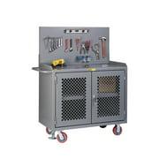 LITTLE GIANT MBP3-2D-FL-PB Bench Cabinet,Pegboard,Shelf,Steel Top