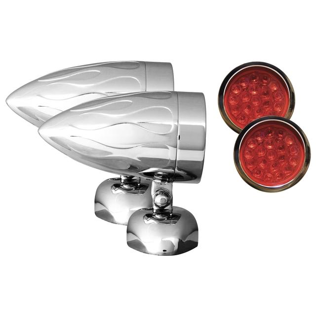 "Adjure NS11915-R3 BEACON-1 BULLET LIGHTS (1 3/8"" DIAMETER) RED LENS LED TARGET FLAMED HOUSING DIAMOND MOUNT 3 WIRE"