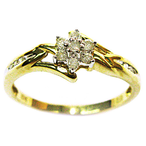 1 8 carat t w flower promise ring in 10kt yellow