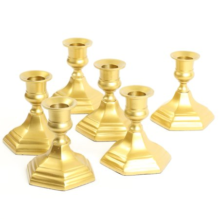 Koyal Wholesale Gold Hexagon Taper Candle Holders, Set 6 Metal Candle Bases, Metallic Candlestick Holders
