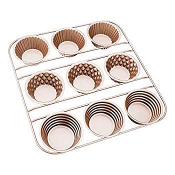 Popover Pan, Nonstick Popover Cake Pan, Carbon Steel 9 Cavity Popover Baking Pan Muffin Pan Muffin Cupcake Bakeware Popover Baking Pans