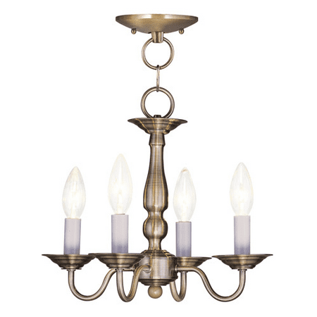 Pendants Porch 4 Light Williamsburg With Antique Brass Finish size 13 in 240 Watts - World of Crystal