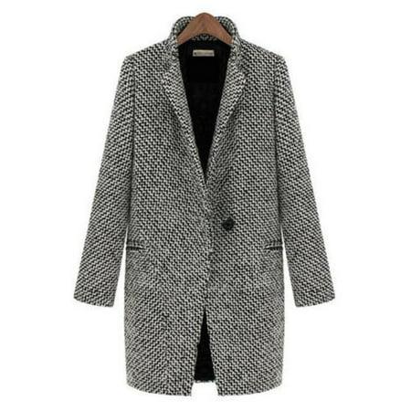 2428eaba433 Womens Open Front Winter Women Peacoat Winter Outdoor Wool Blended Classic  Coats Jacket Jumper Zipper Cardigan Casual Fashion Fleece Outwear Thick Top  Coat ...
