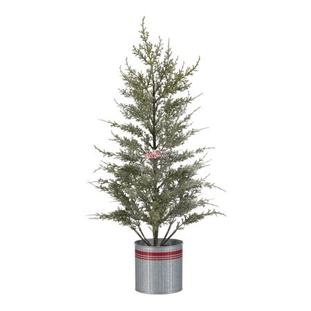 Holiday Time Glitter Cedar Tree with Red Striped Metal Bucket Christmas Decoration, 24""