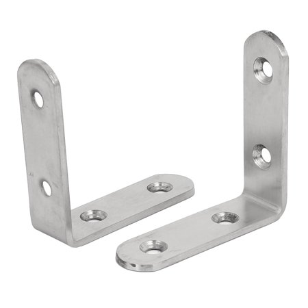 65mmx65mmx3mm Stainless Steel L Shaped Angle Brackets Shelf Supports 2pcs - image 1 of 1