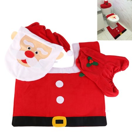 Tremendous Nicexmas Super Soft Fabric Toilet Cover Christmas Decorations Santa Toilet Seat Cover And Rug Set Customarchery Wood Chair Design Ideas Customarcherynet