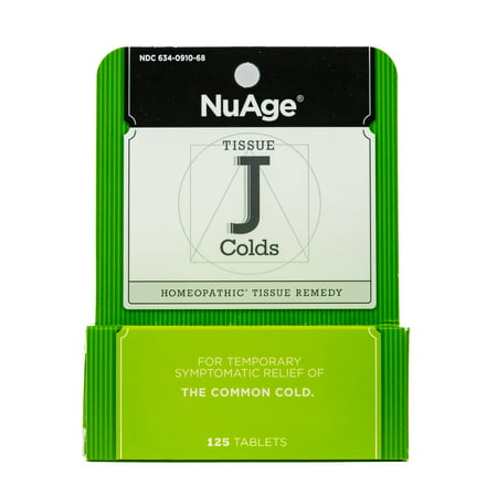 NuAge Homeopathic Tissue J Cold Remedy, Natural Relief of the Common Cold, 125 Count ()