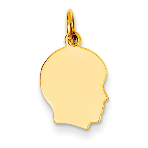 14k Yellow Gold Small 0.013 Ga. Facing Right Engravable Boy Head Charm Pendant