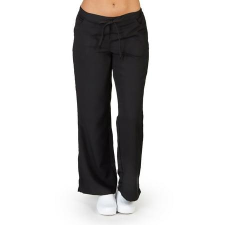 UltraSoft Medical Nurse Uniform Womens Junior Fit 5 Pocket Scrub Pant - PETITES, 38125 Black / Large (Medical Scrubs Junior)