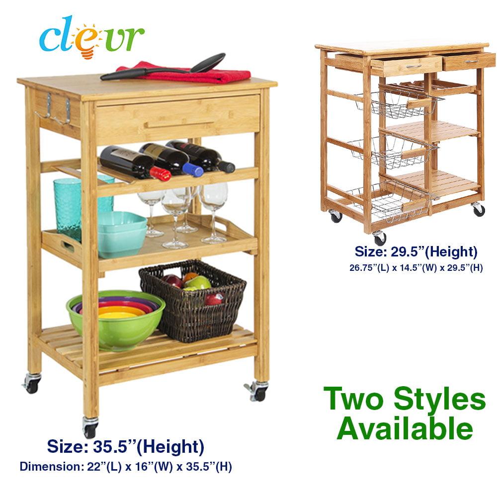 Superbe Rolling Bamboo Kitchen Cart Island Trolley, Cabinet W/ Wine Rack Drawer  Shelves   Walmart.com