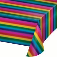 Way to Celebrate Rainbow Foil Plastic Tablecloth