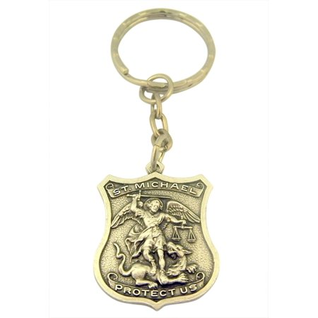 Pewter Patron of Police Saint Michel Badge Shape Medal Key Chain, 1 1/4 Inch (Police Badge Toy)