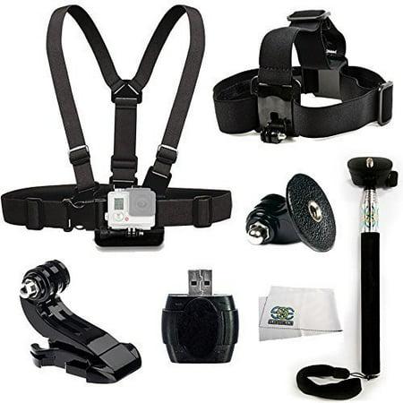 SSE® Accessory Kit for GoPro HERO+, HERO4 Session, HERO4, HERO3+, HERO3 (Black, Silver & White), HERO & HERO+ LCD Includes Chest Mount + Head Mount + Selfie Monopod + J-Hook Mount + Tripod