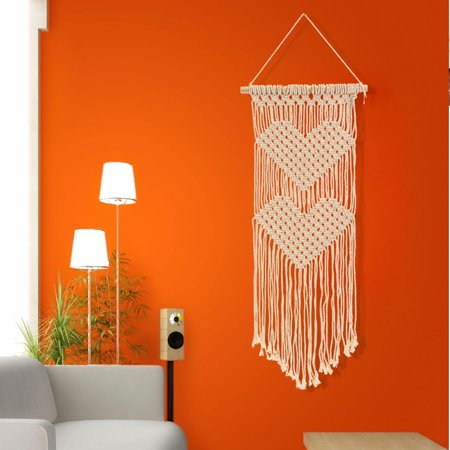 Art Decorative Braided Wall Hanging Bohemian Tassel Cotton Rope Tapestry for Home Bedroom Living Room Decor](Bohemian Wall Art)