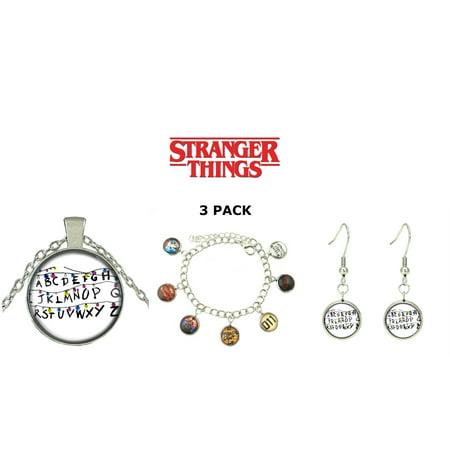 3 Pack Stranger Things Themed Charms Bracelet + Pendent Necklaces + Earrings Eleven Demogorgon