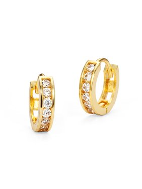 14k Gold Plated Brass Channel Set Cubic Zirconia Huggie Baby Girls Hoop Earrings