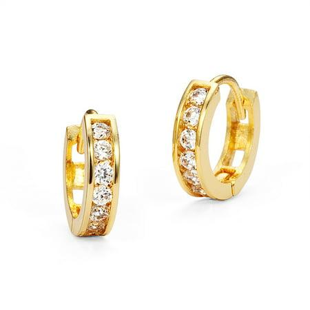 14k Gold Plated Brass Channel Set Cubic Zirconia Huggie Baby Girls Hoop Earrings