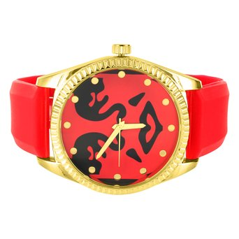 Yellow Red Techno Pave Techno Com Black Red Dial Silicone Strap Watch