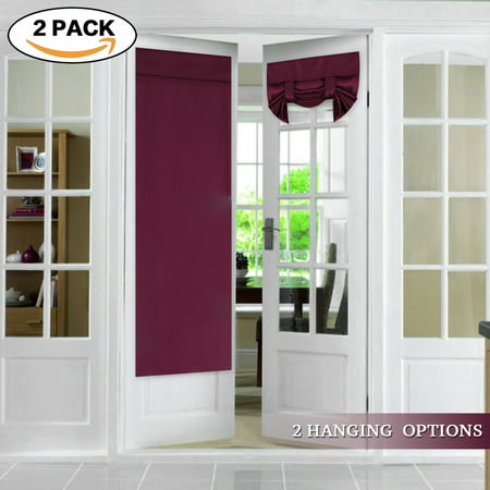 FlamingoP Tricia Window Door Curtains, Burgundy Blackout Curtain Rod Pocket, 2 Panels, 26 x 68 Inches (Door Rod Pocket Curtain Panel)