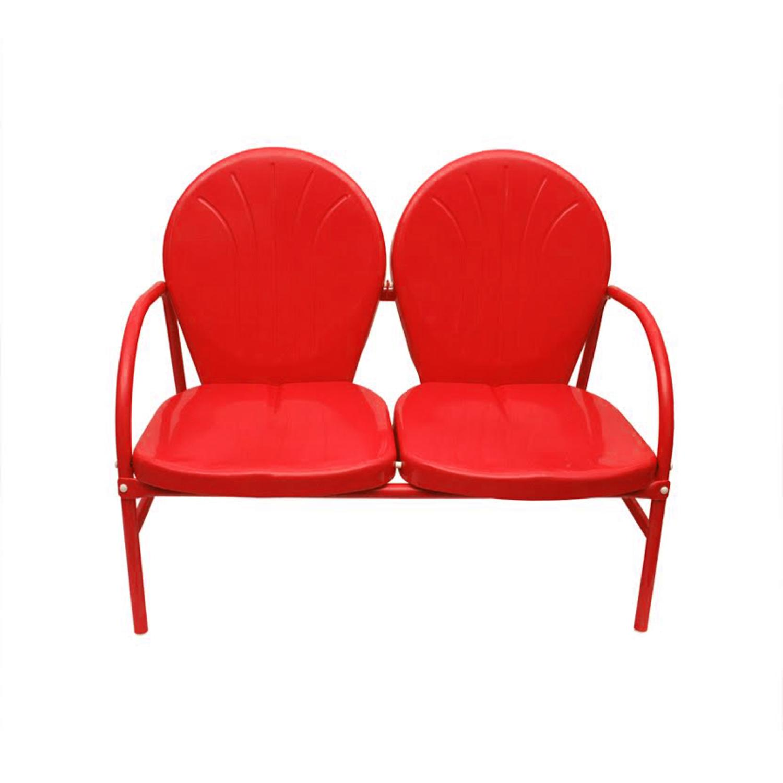 Vibrant Red Retro Metal Tulip 2-Seat Double Chair