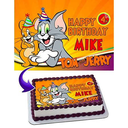 Tom and Jerry Edible Cake Topper Personalized 1/2 Size Sheet Decoration Party Birthday Sugar Frosting Transfer Fondant