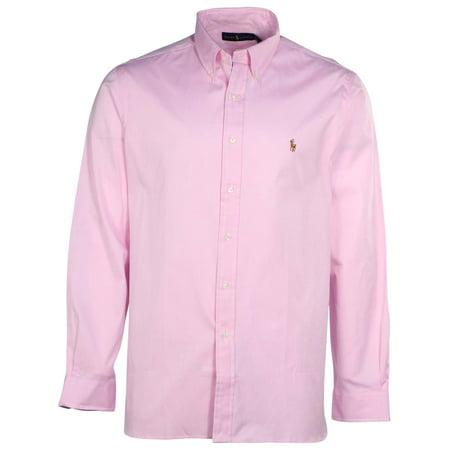 Polo ralph lauren men 39 s button down long sleeve shirt for Mens pink long sleeve shirt