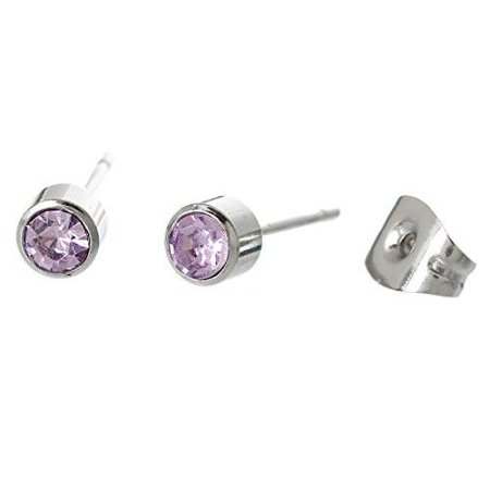 February Stainless Steel Post Stud Earrings with  Rhinestone