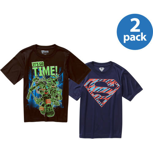 Character Boys' Short Sleeve Active Shirt Your Choice 2-Pack Value Bundle 5 Characters
