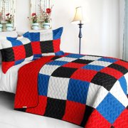 Delicate Plaid - B 3PC Cotton Vermicelli-Quilted Patchwork Plaid Quilt Set-Full/Queen Size