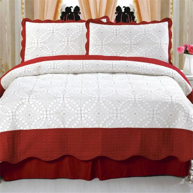Lavish Home Lydia Embroidered Quilt 3 Pc. Set - Full-Queen