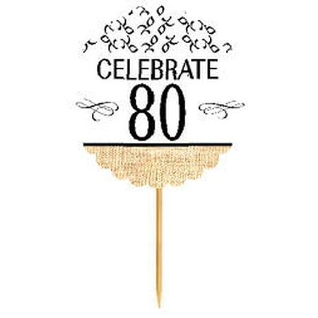 80th Birthday / Anniversary Novelty Burlap Cupcake Decoration Picks -12pack (Ideas For 80th Birthday Cake)