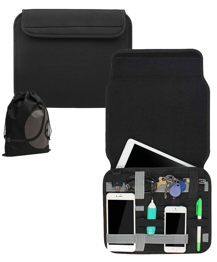 Black Neoprene Portable Cable Organizer Bag for Cables, iPad, Travel Accessories by JAVOedge