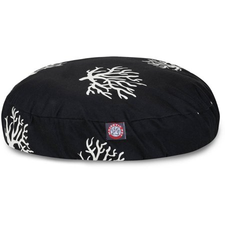 Majestic Pet Coral Round Dog Bed Treated Polyester Removable Cover Black Small 30 x 30 x 4