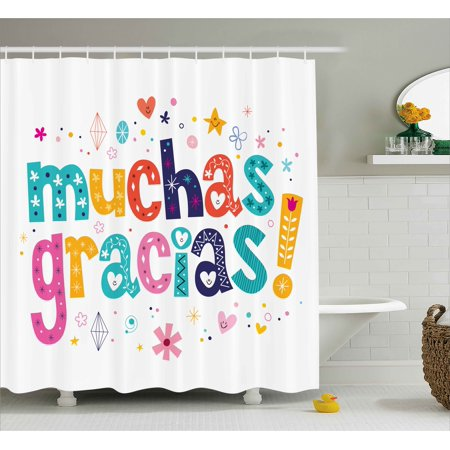 Mexican Decor Shower Curtain Spanish Thank You Quote With Cartoon Style Hearts Diamonds Flowers Artwork