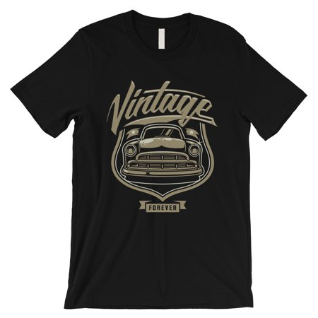 Back Vintage T-shirt - Vintage Forever Mens Black Retro Graphic T-Shirt For Car Lovers