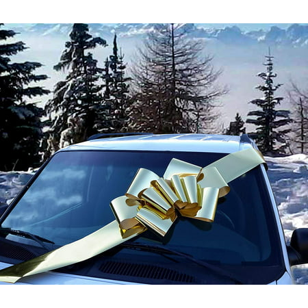 Big Metallic Gold Car Bow - Large Ribbon Gift Decoration, Fully Assembled, 25