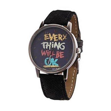 - Be Happy Everything Will Be OK Black Band Copper Antique Case Cool Watch:333