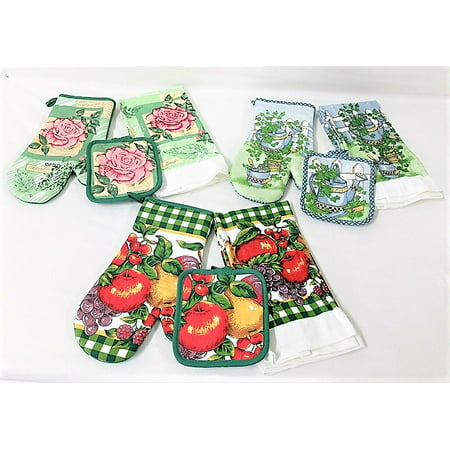 3 Sets of Cotton Kitchen Towels, Potholders, and Oven Mitts - 12 Pieces! 3 Piece Kitchen Tea Towel