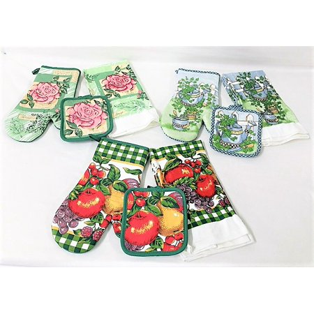 3 Sets of Cotton Kitchen Towels, Potholders, and Oven Mitts - 12