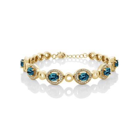 7.32 Ct Oval London Blue Topaz 18K Yellow Gold Plated Silver Bracelet