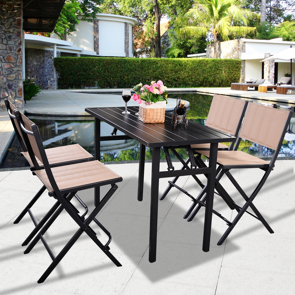 Costway 5 PCS Patio Outdoor Folding Chairs Rect Table Furniture