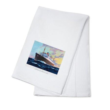 United States Lines   Ss Washington Vintage Poster  Artist  Wood   C  1933  100  Cotton Kitchen Towel