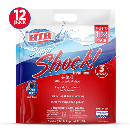 HTH Super Shock Pool Shock Treatment, 1 lb Granule Bags, 12 ct