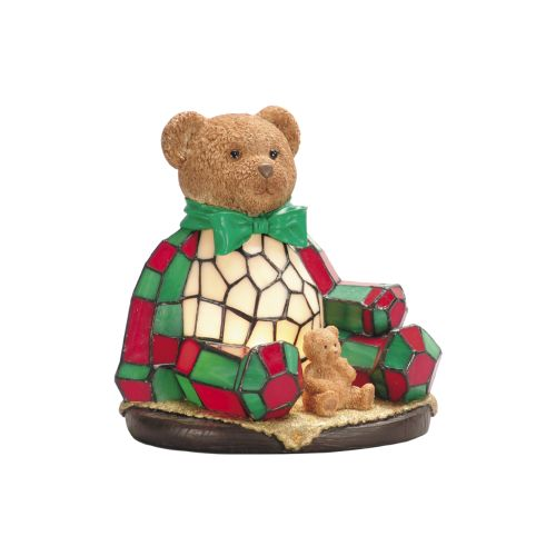 Dale Tiffany RS106 Single Light Noel Bear Night Light with Art Glass Shade