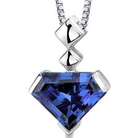 Oravo 6.25 Carat T.G.W. Superman-Cut Simulated Alexandrite Rhodium over Sterling Silver Pendant, 18