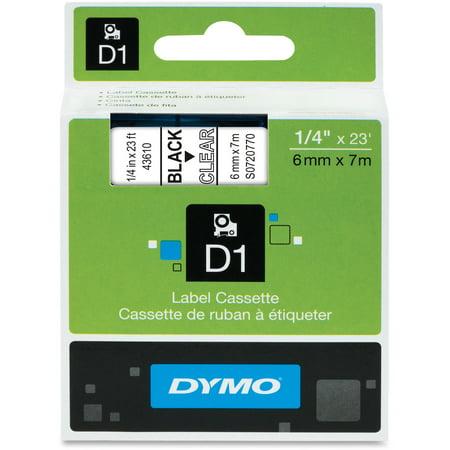 DYMO Standard D1 43610 Labeling Tape (Black Print on Clear Tape , 1/4'' W x 23' L , 1 Cartridge) ()