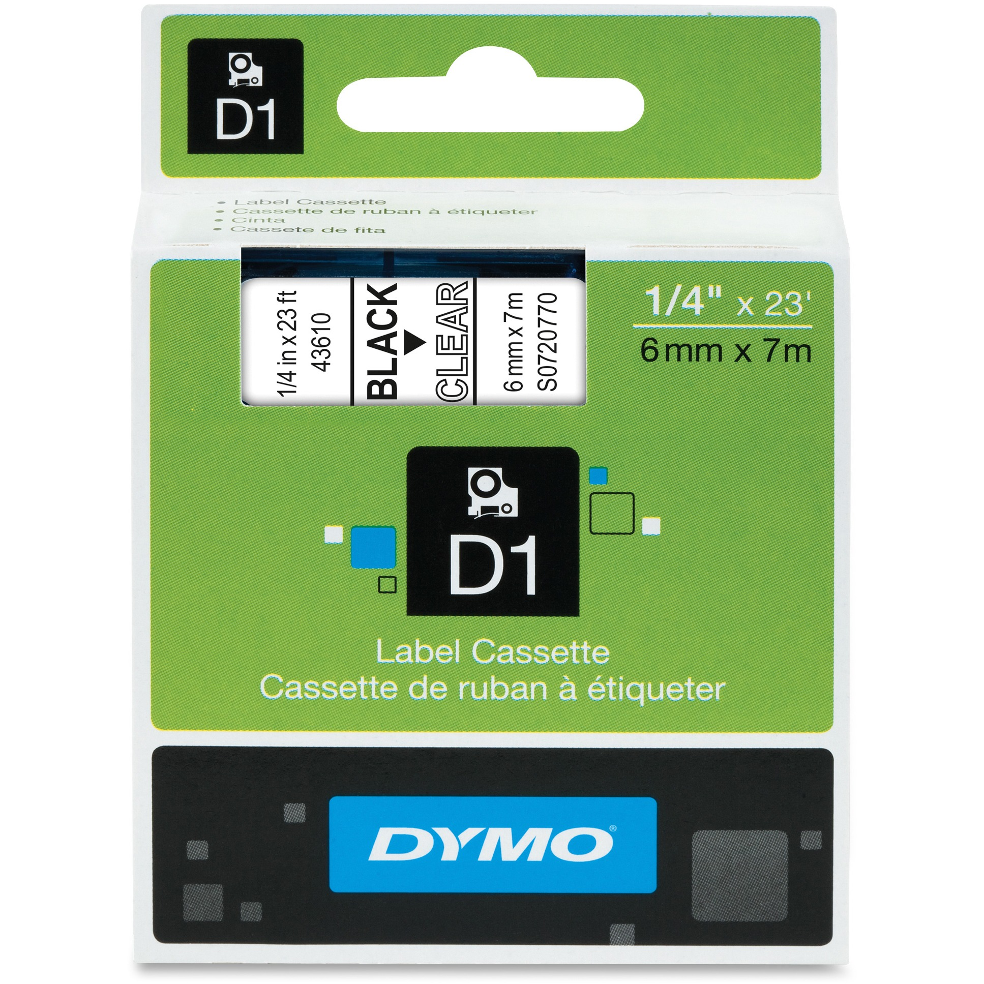 DYMO Standard D1 43610 Labeling Tape (Black Print on Clear Tape , 1/4'' W x 23' L , 1 Cartridge)