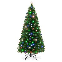 Best Choice Products 7ft Pre-Lit Fiber Optic Artificial Christmas Pine Tree w/ 280 Lights, 8 Sequences, Stand