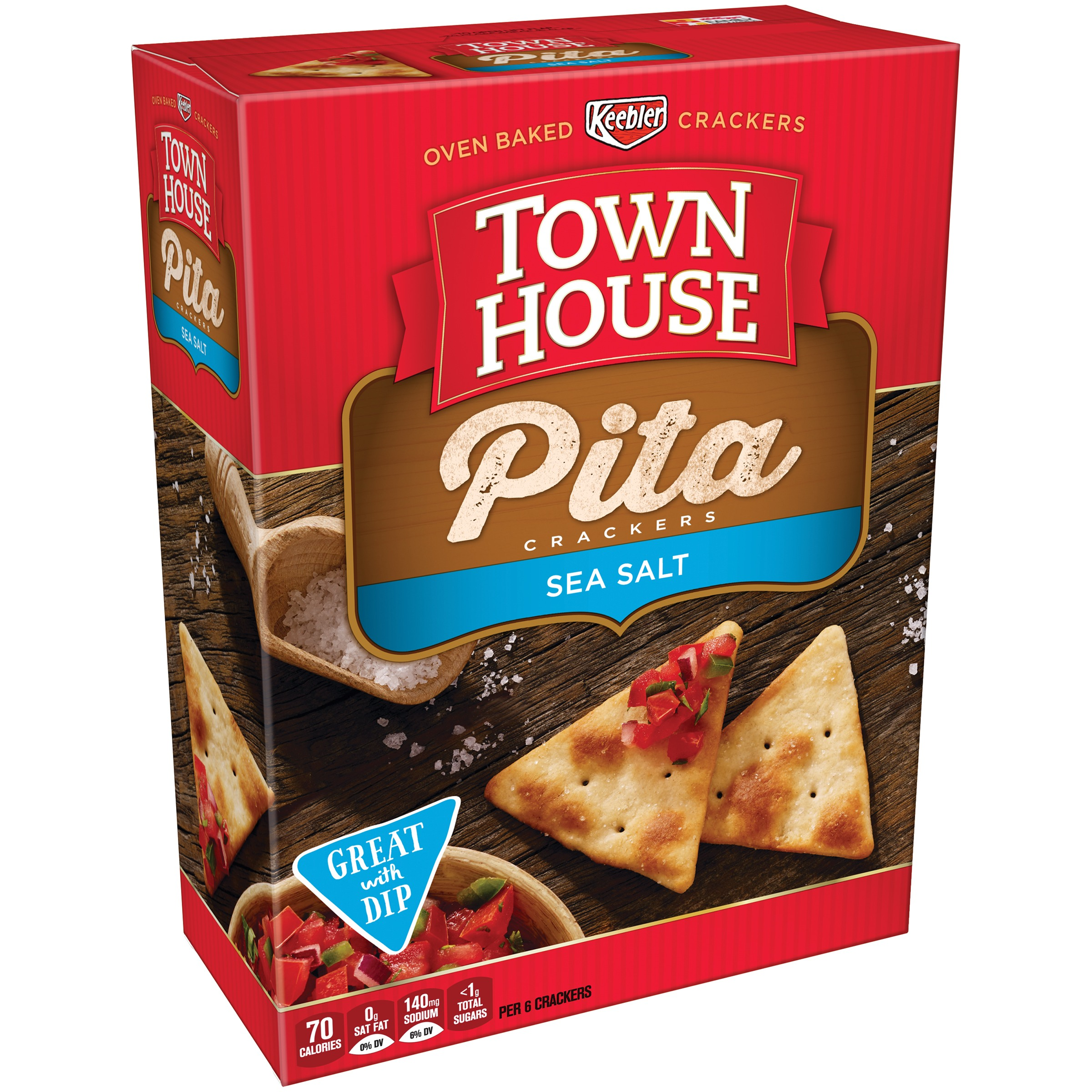 Town House Pita Crackers Sea Salt, 9.5 OZ
